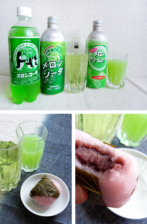 Melon Soda and Sakura Mochi