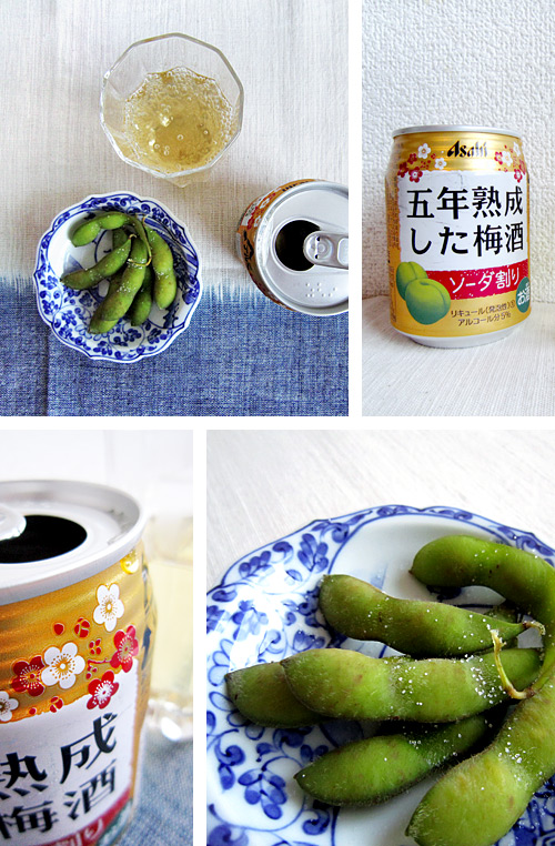 Ume-shu Soda and Edamame